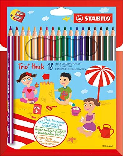 Dreikant-Buntstift - STABILO Trio dick - 18er Pack - mit 18 verschiedenen Farben und Spitzer