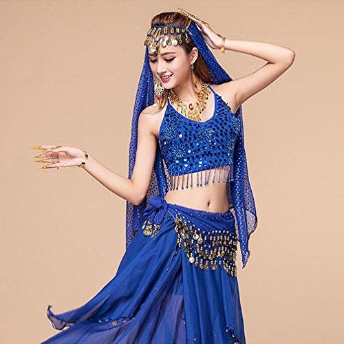 MoLiYanZi Bunte Womans Damen Perlen Sequined Dancewear Tanz Kleidung Frauen Bauchtanz Kostüm Performance Kostüm , navy blue , 3