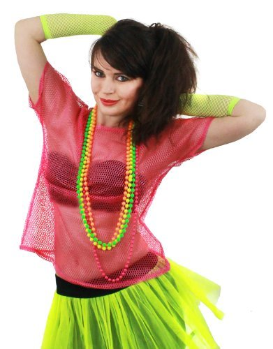 Damen 80s Jahre Netzoberteil Kostüm Zubehör mit Neon Perlen Grün,Orange,Rosa & Gelb 1980'S Rabe T-Shirt Fischnetz Roller Disco 80'S Clubbing Standard &Übergröße Punk Rocker - Neonpink, PLUS SIZE (Size Fischnetz Plus)