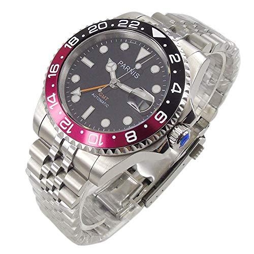 Parnis Herren-Armbanduhr 40 mm schwarzes Zifferblatt Saphir Luminous Pepsi Lünette GMT Dual Time Zone Automatik Uhrwerk