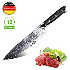 Idea Regalo - Coltello da cucina, Coltello da chef professionale da 8 pollici Joyspot con lama affilata tedesca in acciaio al carbonio e lama ergonomica