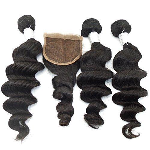 Vedar Beauty Women's Grade 6A Unprocessed Virgin Peruvian Hair Weaves Loose Wave 100G/Bundle 3Pcs hair extensions with 1 lace closure by Vedar Beauty