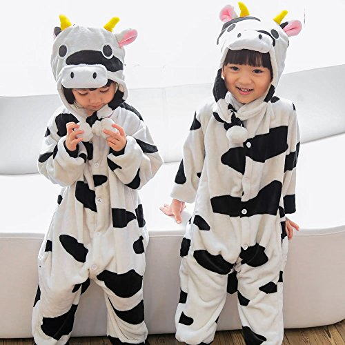 Kids Cartoon Flannel Animal Novelty Costumes Cosplay Pajamas Role-Playing Halloween Play Clothes,Cows,L (4 Yr Old Boy Halloween Kostüme)
