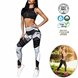 Damen Leggings,Dotbuy Sport Gym Yoga Workout Pants Basic Fitness Hohe Taille Jogginghose Trainingshose Skinny Hosen Hose Sporthose (L, Schwarze Geometrie)