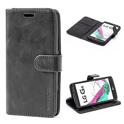 Mulbess Handyhülle für LG G4 Hülle, Leder Flip Case Schutzhülle für LG G4 Tasche, Schwarz