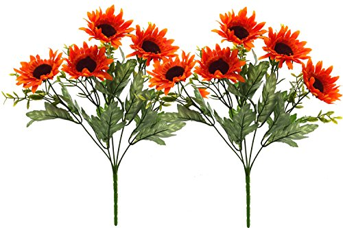 Fourwalls Artificial Sunflower Bouquet (34 cm, Orange, Set of 2)