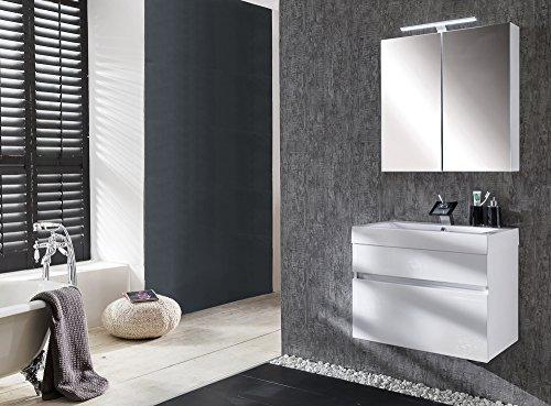 #Badezimmermöbel-Set Parma 2tlg,weiß, Schubladen mit Softclose-Funktion, Badezimmer-Set bestehend aus Spiegelschrank, Waschplatz#