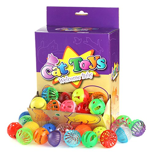 """48 Stück Plastikglocke Katzenball Chiwava Katzen Kätzchen Verfolgung Spielzeug Größe 1,6 \""""~ 1,8\"""" 8 Arten sortierte Farbe"""