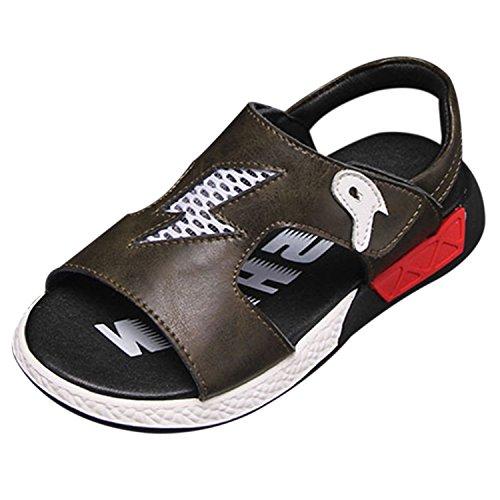 Oasap Boy's Fashion Open Toe Velcro Flat Sandals red