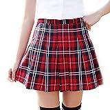 URSFUR Rock Cosplay Party Schulmädchen Kostüm knielang Damen Cosplay Hohe Taille Dress Röcke