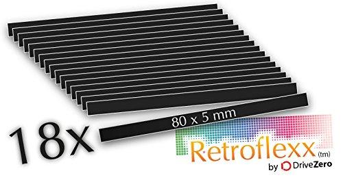 .drivezero. Retroflexx Reflektoren 80 x 5 mm, 18 Stück in Schwarz (Weiß reflektierend)