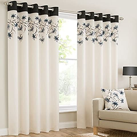 Plain faux silk look eyelet ring top black cream brown fully lined curtains lily flowers floral leaves 90x90 inches 229cmx229cm drop eyelet ring top ready