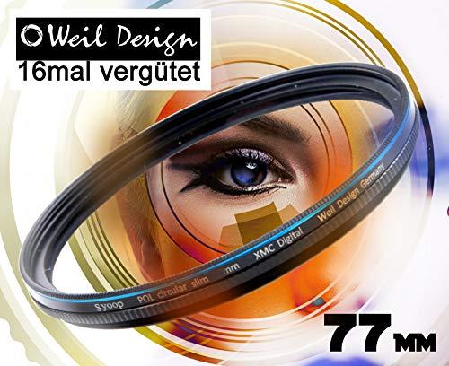 Polfilter POL 77 circular slim XMC Digital Weil Design Germany SYOOP * Kräftigere Farben * Frontgewinde * 16 fach XMC vergütet * inkl. Filterbox * zirkulare (Pol Filter 77mm)