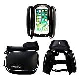 Fahrradtasche Rahmentaschen, MOREZONE Frarradschnalletasche mit zwei Fäche, geeignet für Handy mit Größe unten 6,0″, Farhradlenkertasche (Black) - 6