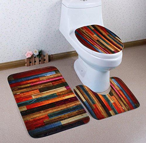 3 Stück Bunte Holz Design Bad / Sockel Badematte / WC Sitzbezug Set (Einheitsgröße)