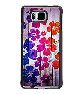 printtech Floral Pattern Wooden Back Case Cover for Samsung Galaxy Alpha G850