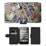 PU Leder Wallet Case Folio Schutzhülle // M00154398 Geld-Währung Finanzen Reichtum // Apple iPhone 4 4S 4G