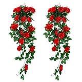 XONOR 2 pièces Plantes suspendues artificielles - Faux Soie Rose Fleurs Suspendus...