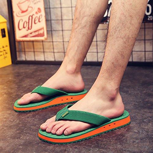 Femme Chaussons Men'S Casual Tongs,Men'S Summer Spell,Pieds Cool Pantoufles Antidérapantes,Respirant À Fond Épais Chaussures De Plage Man's bottom green