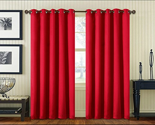 Luxury Faux Silk Pair of Curtains with Free Tiebacks Ring Top Eyelet Plain Colours (66×54, Red)