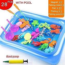 ZREAL Magnetic Fishing Toy Set für Kinder Angeln Spiele Outdoor-Spielzeug Rod Haken Fische mit aufblasbaren Pool
