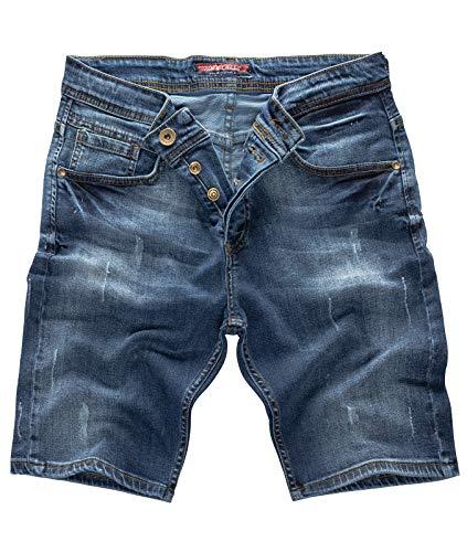 Denim Baumwolle Shorts (Rock Creek Herren Shorts Jeansshorts Denim Stretch Sommer Shorts Regular Slim [RC-2125 - Dark Blue W32])