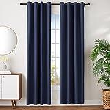 AmazonBasics - Juego de cortinas que no dejan pasar la luz, con ojales,  245 x 140 cm, Azul marino (Navy Blue)