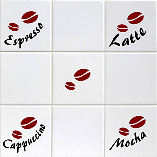 Price comparison product image Latte Mocha Espresso Cappuccino & Coffee Beans Tile Transfers To Fit 6 Inch Tiles Kitchen Wall Sign Decal Vinyl Sticker For Shop Office Home Cafe Hotel FREE P&P