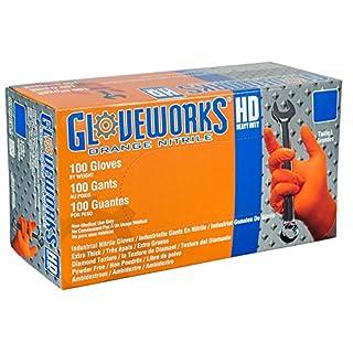 Ammex GWON Gloveworks Orange Nitrile Glove, Latex Free, Disposable, Powder Free, Large (Case of 1000)