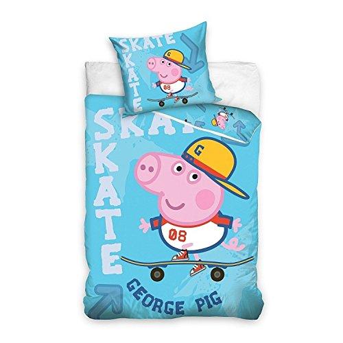 "Sacco Copripiumino Cotone Singolo 160x200 Cm Federa 70x80 Cm Peppa Pig George ""Skate"""