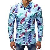 VEMOW Sommer Herbst Frühling Männer Business Hem Fashion Printed Bluse Casual Arbeit Dating Langarm Slim Shirts Tops(Mehrfarbig 5, EU-50/CN-L)