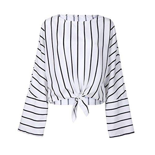 Top Manche longue Femmes,Toamen Rayé Imprimé Col rond Bandage Chemisier décontracté Chemise Barre verticale Haut (L, blanc)