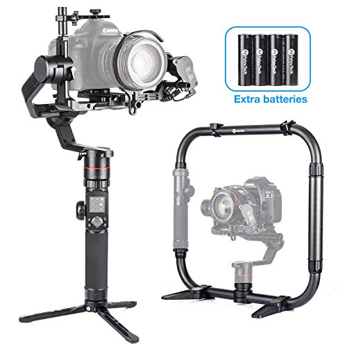 Feiyutech AK4000 Gimbal for for Mirrorless and DSLR Camera +Free Follow Focus+Carbon Fiber Extension Bar+Dual Handle +Extra Batteries -
