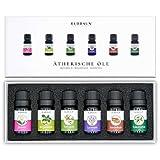Ätherische Öle von ELDRAUN • Zur Aromatherapie • 100% Naturprodukt • Duftöle Set für Diffuser Natur-Kosmetik • 6 x 10 ml • Eukalyptus Lavendel Jasmin Bergamotte Teebaum Sandelholz