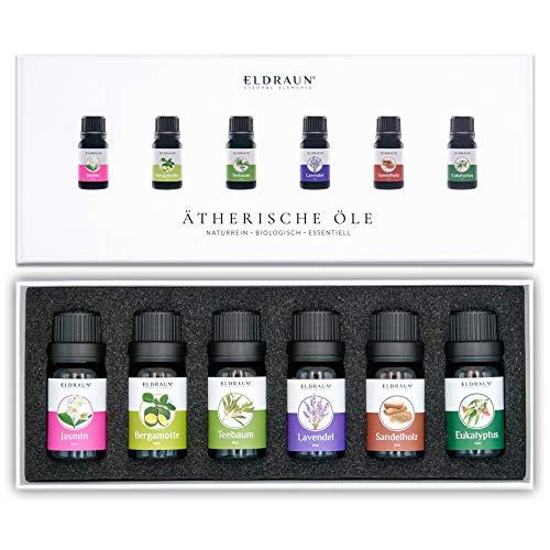 Ätherische Öle von ELDRAUN® • Zur Aromatherapie • 100% naturrein • Duftöle Set für Diffuser Natur-Kosmetik • 6 x 10 ml • Eukalyptus Lavendel Jasmin Bergamotte Teebaum Sandelholz