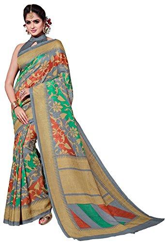 Classic Enterprise Sarees Daily Wear Stripe & Geometric Print Multi-Color Cotton Sari With Blouse (Malgudi-4317)