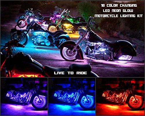 Motorrad LED Strip Licht Kit-10Pcs Motorrad LED Beleuchtung Streifen Mehrfarbig Accent Glow Neon Lights Lampe gesteuert durch Fernbedienung für Harley Davidson Honda Suzuki Yamaha, Harley Zubehör