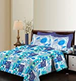 Bombay Dyeing Breeze Cotton Double Bedsheet with 2 Pillow Covers 2.24mX2.54m Size-Sky Blue