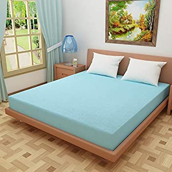 "Dream CareTM Waterproof Dustproof Terry Cotton Mattress Protector for Single Bed - 72""x42"", SkyBlue"