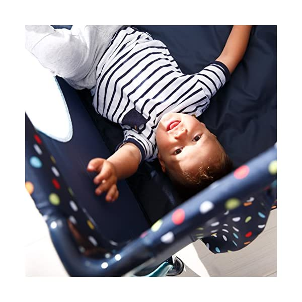 Hauck Sleep N Play Centre II, 7-part Folding Travel Cot from Birth to 15 kg, Bassinet and Changing Top, Folding Mattress and Wheels, Side Opening, Toy Bag, 120 x 60 cm, Multi Dots Navy Hauck Suitable from birth Includes fold up mattress (60 x 120cm) Folds away into its own carry bag 7