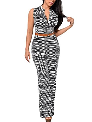 Cfanny Women's Sexy V Neck Sleeveless Wide Leg Palazzo Pants Jumpsuit ,Circle,XL