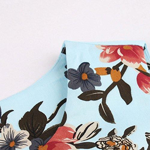 ZAFUL Robe Vintage années 1950 's Style Rockabilly Swing Imprimé Floral Sans manches Robe Rétro Sexy Robe de Soirée Cocktaile Grande Taille Bleu Flamingo