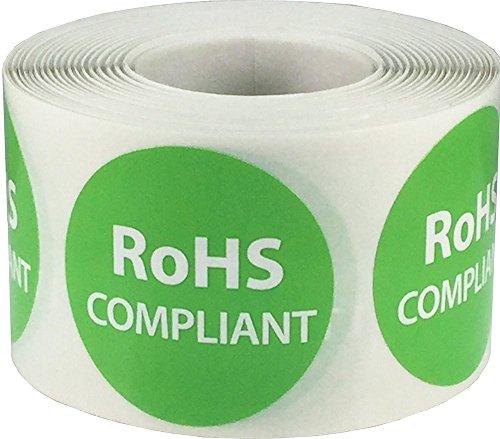 RoHS Obediente Pegatinas, 38 mm 1 1/2 Pulgadas Redondo, 500 Etiquetas en un Rollo