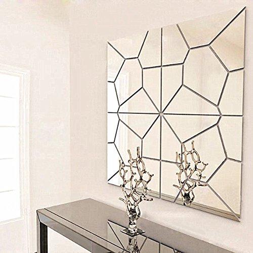 Espejos decorativos adhesivos en 3D para pared, moderno arte mural geométrico para decorar salones y baños, para bricolaje