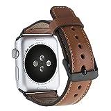 Solo Pelle Apple Watch Series 1 & 2 'Watch' Leder Armband Uhrenband mit passendem Uhrenadapter Connector Ersatzband Strap (42 mm Cognac Braun / Schwarze Connector)