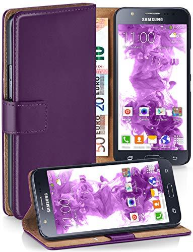 moex® Booklet mit Flip Funktion [360 Grad Voll-Schutz] für Samsung Galaxy J5 (2015) | Geldfach und Kartenfach + Stand-Funktion und Magnet-Verschluss, Lila