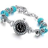 Beloved  Reloj pulsera de mujer con cristales, cuentas y metal efecto plateado, compatible con Pandora, ajustable hasta 21cm azul claro