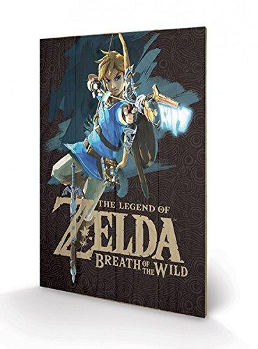 Preisvergleich Produktbild 1art1 102854 The Legend Of Zelda - Breath Of The Wild, Game Cover Poster Auf Holz 60 x 40 cm