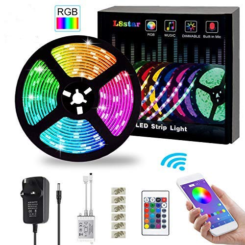 L8star LED Strips Lights,5M/16.4ft Flexible Strips Lights SMD 5050 RGB with Bluetooth Controller Changing Tape Lights kit with LED Sync to Music for TV,Bedroom,Kitchen,and Home Decoration