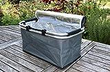 Caja ISO-termica Resistente Porta Alimentos con Marco y Forro de Aluminio | MY Thermo Basket TO GO | Capacidad 30 litros | con Tela Repelente al Agua | con pies en la Parte Inferior | Gris Claro